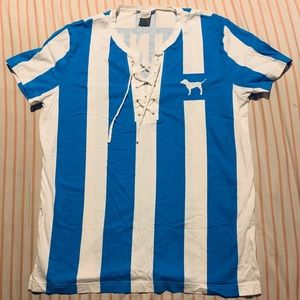NWOT VS Pink Striped Lace-Up Jersey Tee 💙